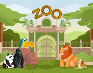 Vector image of zoo gate with animals 2