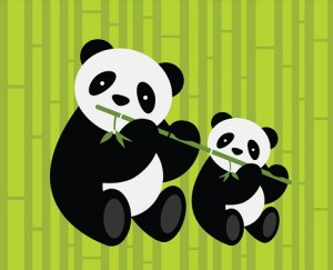 Two pandas. Vector illustration.